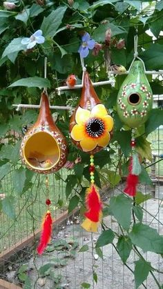 ceramics, garden, terrace, w Decorative Gourds, Hand Painted Gourds, Gourds Birdhouse, Bird House Gourds, Bird House Feeder, Gourd Lamp, Garden Crafts, Yard Art, Bird Houses