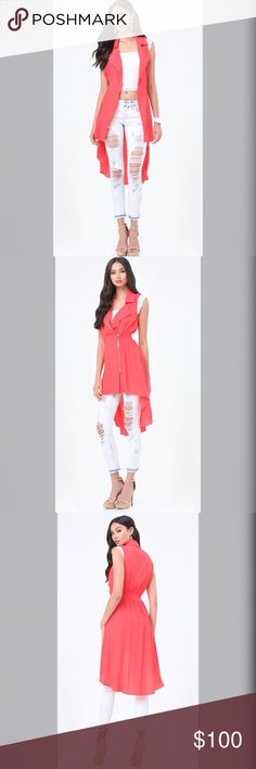 ❤️Zip Hi-Lo Vrst❤️ Fab-to layer lightweight vest in a sweeping hi-lo design. Asymmetric zip and notched lapels give it a Moro vibe. Stretch-smock waist  keeps the look fitted. Asymmetric exposed zip closure. bebe Other