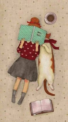 Girl with her cat reading a book illustration. - Girl with her cat reading a book illustration. Bookworm drawings, adorable book … – girl with h - Illustration Mignonne, Cute Illustration, Illustration Pictures, Book Illustrations, I Love Cats, Crazy Cats, Book Lovers, Cat Lovers, Cat Reading