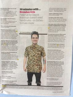 "half-blue: "" When you see Brendon in the newspaper and scream from excitement """