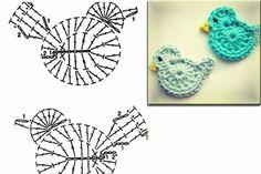 Kuş  örneği. Crochet bird applique.  Have I pinned this a million times?