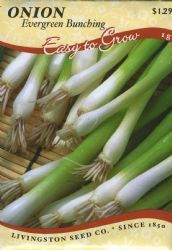 Livingston Seed Co. Onions - Evergreen Bunching Evergreen Bunching Onion produces clusters of long, slender onions that can be separated. Tasty in soups, salads or as a garnish. Later plantings will winter over for a spring harvest. Start indoors for Spring crop. Country Max 20 cent sale