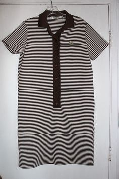 Vintage 70s Lacoste White & Brown Stripe Sporty Tennis Shift Day Dress Medium | eBay