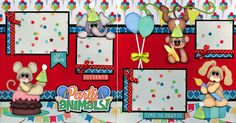 PARTY ANIMAL ~ BIRTHDAY 2 premade scrapbook pages paper piecing layout CHERRY in Crafts, Scrapbooking & Paper Crafts, Pre-Made Pages & Pieces | eBay