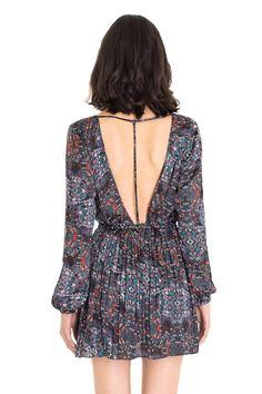 Vestido transpassado plissê estampa oriente | Dress to