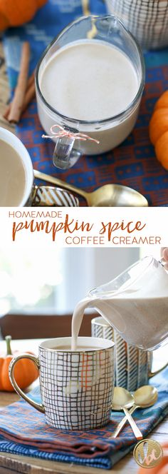 Homemade Pumpkin Spice Coffee Creamer / fall baking, pumpkin spice recipe via…