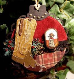 Stampin' Up's Wild Wild West Stamp Set paired with die cuts for a special Christmas Boots ornament.