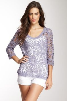 Irresistible Crochet V-Neck Top