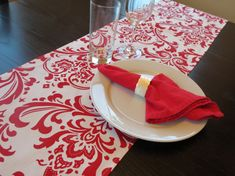Damask Table Runner in Red & White by ShopLili on Etsy, $21.00