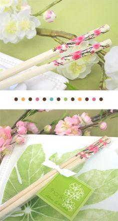 Cherry Blossom Chopsticks Asian Wedding Favors