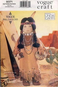 Vogue Crafts Sewing Pattern for making 18 American Indian Dolls Kaya American Girl Doll, American Indian Girl, Native American Girls, American Doll Clothes, Ag Doll Clothes, Doll Clothes Patterns, Doll Patterns, American Indians, American Dolls