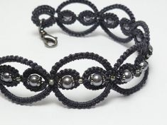 Tatted Lace Bracelet in Charcoal with glass and gunmetal -Infinity -MTO