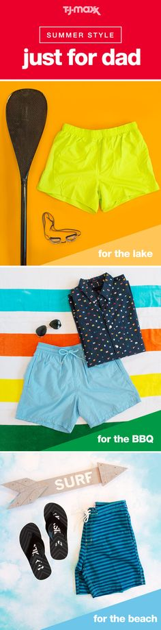 Father's Day is the perfect time to give dad a reason to relax. Whether he likes to post up by the pool or spend the day surfing, a new swimsuit, a pair of shorts or a bright polo is the best excuse to get outside and enjoy the weather. Shop more swim and style for dad at tjmaxx.com or at your local T.J.Maxx.