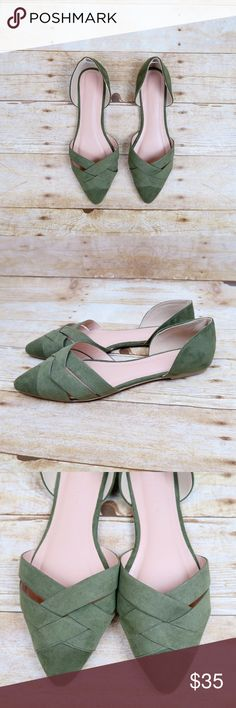 Olive faux suede pointy toe flats Brand: Wild Diva Size: 7.5 Color: Olive New (with box)   Faux suede Woven design Pointy toe Open sides D'orsay Slip on  Small heel Cutout No Trade Shoes Flats & Loafers