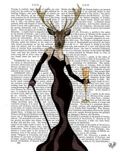 Glamour Deer Black, Deer Print Cocktail Dress Champagne Glass Deer painting Deer picture wall art wall decor wall hanging glamorous deer