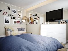 cool blue blanket with white wooden cabinet also big flat tv feat calm wall color with