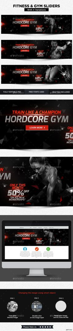 3 Fitness and Gym Sliders Templates PSD. Download here: http://graphicriver.net/item/fitness-and-gym-sliders-3-designs/13472341?ref=ksioks