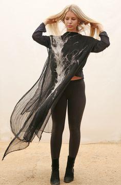 Boho dress by slowlab firenze felt. Felted black and white merino wool, handmade .