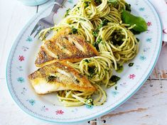 Our popular recipe for pikeperch fillet with pesto spaghetti and more than other free recipes on LECKER. Our popular recipe for pikeperch fillet with pesto spaghetti and more than other free recipes on LECKER. Pesto Pasta Recipes, Shrimp Recipes, Fish Recipes, Vegetable Recipes, Salad Recipes, Vegan Recipes, Lobster Restaurant, Baked Salmon Recipes, How To Cook Fish