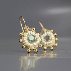 Labradorite Jewelry, Small Mandala Earrings with Labradorite & Pearls, Labradorite Earrings, Spiritual Jewelry, Pearl Earrings Pearl Jewelry, Wire Jewelry, Bridal Jewelry, Beaded Jewelry, Jewellery, Unique Earrings, Bead Earrings, Earrings Handmade, Labradorite Jewelry