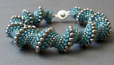 beaded bracelet blue seed bead by beadnurse on Etsy