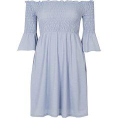 Petite light blue shirred bardot midi dress £35.00