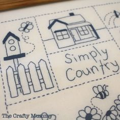 Country Stitching - And Sew We Craft Blue Crafts, Crafts To Do, Diy Craft Projects, Arts And Crafts, Diy Crafts, Craft Ideas, Crafty Craft, Needle And Thread, Stitch Patterns