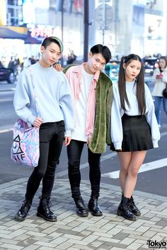 Yoshiaki (15), Noboru (19), and Michi (18) on the street in Harajuku wearing fashion from Bubbles Harajuku, Dr. Martens, UNIF, UNIQLO, Stussy, and American Apparel. Yoshiaki (left) and Michi (right) are a brother sister duo who has been gaining popularity in Harajuku recently.