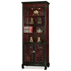 Rosewood Ming Longevity Carving Design Curio Cabinet
