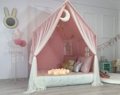 Teepee Play Tent, Bed Tent, Teepee Kids, Canopy Tent, Diy Canopy, Playhouse Bed, Indoor Playhouse, Girls Playhouse, Reading Nook Tent