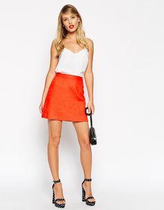 Image 1 ofASOS A-Line Linen Mini Skirt