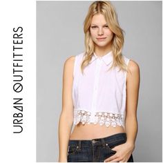 ☀️$20 TODAY☀️ Pins & Needles White Crochet Hem Top This shirt is beautiful and in great condition. It features a feminine collar, and is button down. Also features a crochet hem line. Brand: Pins and Needles. Sale price is firm. Urban Outfitters Tops Crop Tops