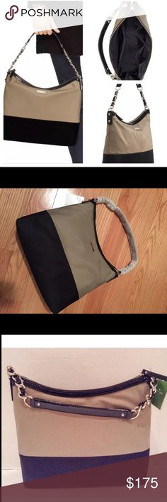"NWT Kate Spade Serena purse NWT Kate Spade Serena purse. Nylon ash and black with zip closure. Has interior zipper pocket and two open pockets. 14kt gold plate hardware. Approx 11"" high, 13"" wide and 4"" deep with 9"" strap drop. kate spade Bags Shoulder Bags"