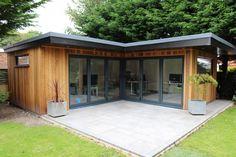 Backyard Sheds, Backyard Patio, Front Gardens, Outdoor Gardens, Garden Cabins, Outdoor Buildings, Roof Installation, Cottage Exterior, Garden Studio