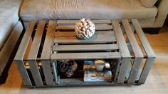 Rolling Rectangle Wood Crate Coffee Table                              …