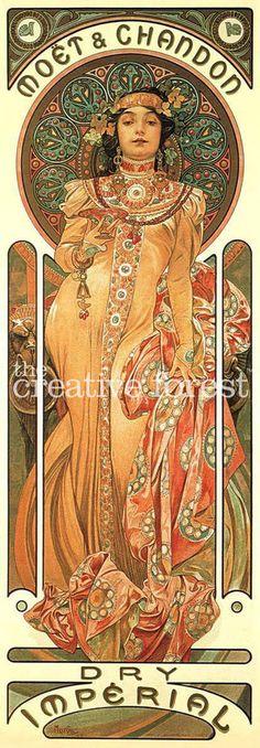 CHAMPAGNE 1899 Alphonse Mucha Art Nouveau Poster Rolled CANVAS PRINT 17x41 in #ArtNouveau