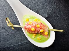 Chilled Avocado Soup with Lobster and Corn as done by Bite Sized by Jonathan Meter and Jessica Faith amazingly cute blog with yummy recipes and amazing photography! Much Love <3