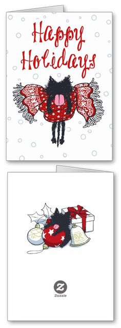 """""""Scarf and Black (Happy Holidays Card)"""" Greeting Card on Sale! XD -- #kitten #Cat #Greeting #Card #HappyHolidays"""