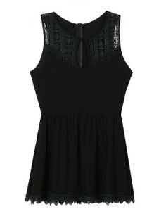 Shop Black Crochet Cut Out Front Lace Trim Dress Top from choies.com .Free shipping Worldwide.$21.99