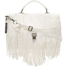 Proenza Schouler White PS1 Fringe Medium Satchel ($1,930) ❤ liked on Polyvore featuring bags, handbags, fringe bag, medium satchel handbags, handle satchel, white satchel handbags and fringe purse