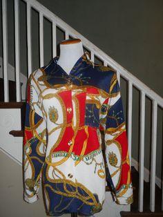 Size Large Amy Jess Printed Blouse by MahoganyBleu on Etsy