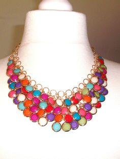 Bohemian Style Halskette, bunt goldfarben