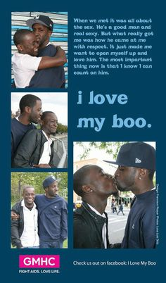 Gay Men's Health Crisis (GMHC) is re-launching their brilliant 'I Love My Boo' Campaign prominently featuring African-American and Latino. Social Marketing Campaigns, Nyc Subway, My Boo, Gay Couple, Out Loud, A Good Man, Love Him, Things I Want, Relationship