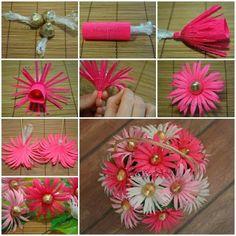 ARTE CON QUIANE - Paps, Moldes, EVA, fieltro, cosido, Fofuchas 3D: ramo de flores con dulces
