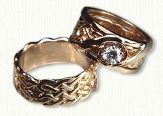 Celtic Wexford Knot Wedding Band & Engagement Ring Set- Shown in 14kt Yellow Gold