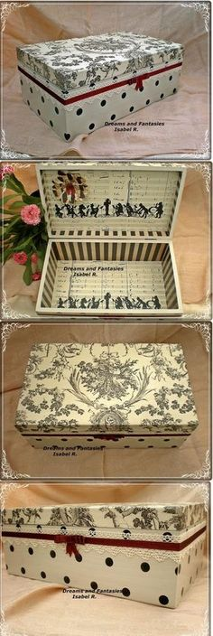 hermosa caja decorada con decoupage -Pretty storage ideas, I have the boxes and maybe I could do something like this? Decoupage Vintage, Decoupage Box, Cigar Box Art, Cigar Box Crafts, Painted Boxes, Wooden Boxes, Altered Cigar Boxes, Pretty Box, Vintage Box