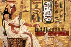 Wall Painting From The Tomb Of Queen Nefertari (Wife of Ramses II) -- Tomb QV 66 -- Date of Death, BCE -- Depicts the queen playing Senet, an ancient board game similar to chess -- Metropolitan Museum of Art Facts About Ancient Egypt, Ancient Egypt History, Ancient Egyptian Art, Ancient Egypt Pharaohs, Art Ancien, Arte Tribal, Art Antique, Egypt Art, Ancient Civilizations
