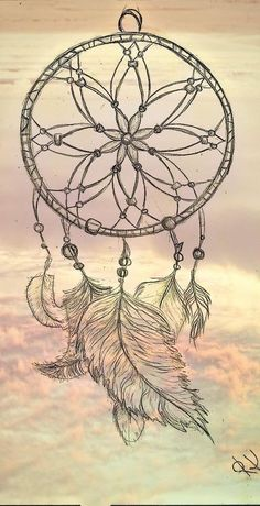 I am not big into dream catchers but I pinned this to use as a reference for drawing feathers.