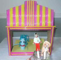 My Homemade Puppet Theater: Heres a savvy homemade puppet theater made from an old shoe box and a few straws. Apart from the craft knife part, my children made this all by themselves Shoe Box Diorama, Homemade Puppets, Activities For Kids, Crafts For Kids, Puppet Show, Old Shoes, Theatres, Straws, My Children