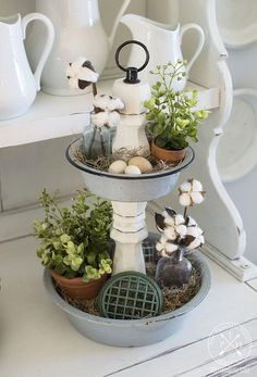 DIY Tiered Tray From Repurposed Enamelware Bowls - Decorative Tray - Ideas of Decorative Tray - This would be handy for coffee pods! DIY Tiered Tray From Repurposed Enamelware Bowls Farmhouse Style Kitchen, Country Farmhouse Decor, Vintage Farmhouse, Country Chic, Rustic Style, Tiered Stand, Tray Decor, Plant Decor, Diy Home Decor